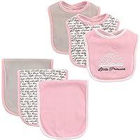 Hudson Baby 6-Piece Bib and Burp Cloth Set, Princess