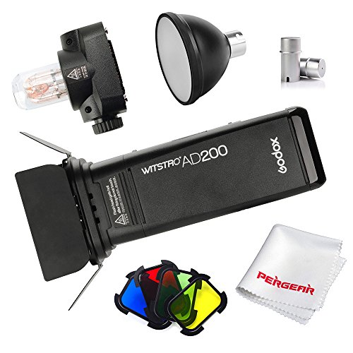 Godox AD200 200Ws 2.4G TTL HSS Cordless Flash Speedlite with Bare Bulb/Speedlite Fresnel Flash Head, BD-07 Barn Door Kit, 2900mAh Lithimu Battery, Standard Reflector, Flash Tube Protector by Godox