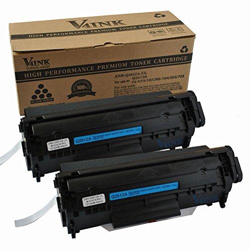 2 Pack V4INK® New Compatible Canon 104/ Q2612A(12A)/FX-9/FX-10 Toner Cartridge-Black