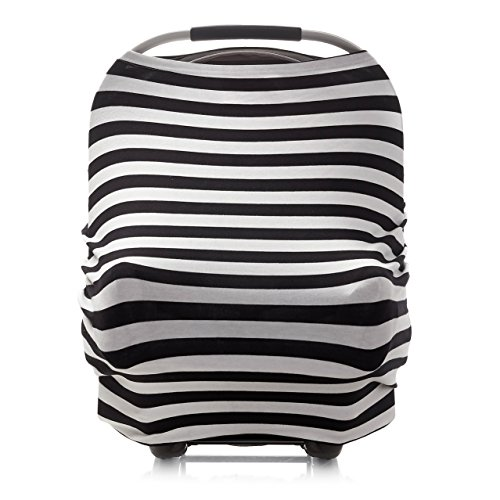 4-in-1 Infant Car Seat Cover Canopy for Baby Multi-Use Nursing Cover for Breastfeeding Mom - Black & White Stripe - Stretchy Shopping Cart Cover -Baby Shower Gift for Boys and Girls - Infinity Scarf