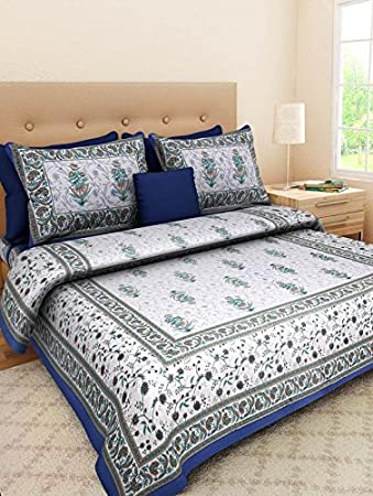 Bed Zone collection Floral Printed 144 TC Cotton Double Bedsheet With 2 Pillow Cover