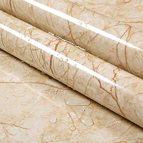 Emoyi New Brown Wire Marble Gloss Vinyl Film Wallpaper Peel-stick Counter Top Table Sticker Wrap Film 15.7''x79''