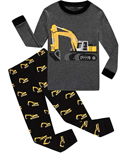 - Dolphin&Fish Boys Pajamas 100% Cotton Long Sleeve Toddler Pjs Set Excavator Clothes Kids Pjs Sleepwear 2T Dark Gray