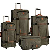 Timberland Luggage Twin Mountain 4 Piece Wheeled Duffle Set, Burnt Olive/Burnt Orange, One Size