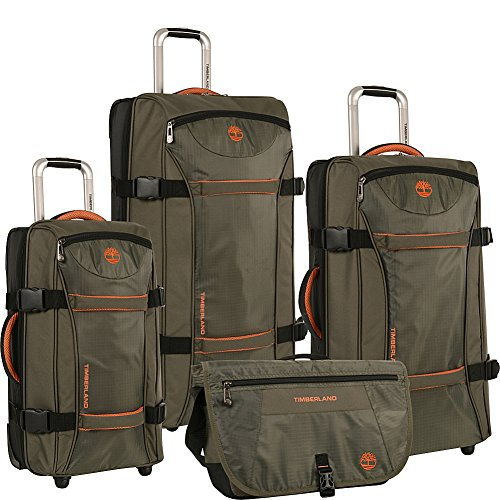 Timberland Luggage Twin Mountain 4 Piece Wheeled Duffle Set, Burnt Olive/Burnt Orange, One Size by Timberland