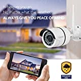 Faleemi Outdoor/Indoor Full HD WiFi Security Camera, 1080P Waterproof Surveillance IP Camera, Bullet Camera for Your Smartphone with Motion Detection, Night Vision FSC860