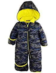 iXtreme Baby Boys Army Camo One Piece Puffer Winter Snowsuit Bunting Pram, Navy, 24 Months
