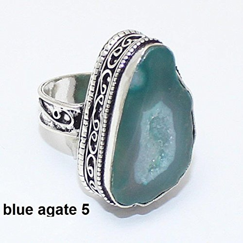 Vintage Overlay Silver (Sea Blue Crystal Druzy Agate Ring Silver Overlay Fashion Jewellery Vintage Handmade Jewelry 7 US Size.)