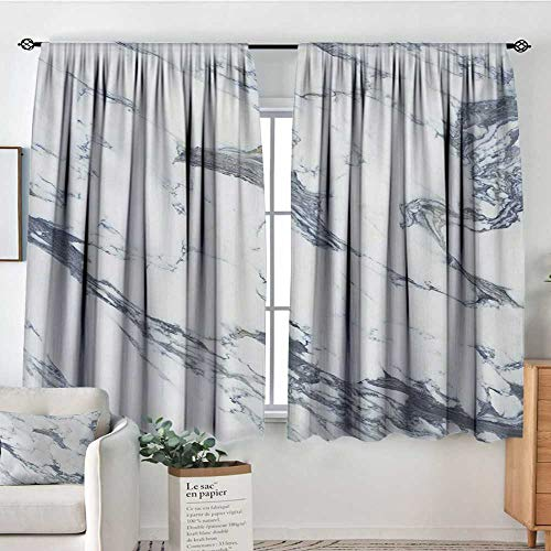 Mozenou Marble Thermal Insulating Blackout Curtain Antique Marble Textured Ocean Style Organic Granite Rock Formation Art Print Thermal Blackout Curtains 63