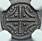 HU 1095-1161 AD Hungary Medieval Crusader Knights Templar Cross Antique Hungarian Silver Coin Denar MS-61 NGC