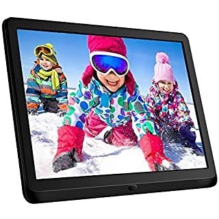 10 Inch Digital Picture Frame 16:9 1920x1080 IPS Widescreen, Digital Photo Frame Supports Adjustable Slideshow & Brightness 1080P FHD Video Music Alarm 128G SD-Black