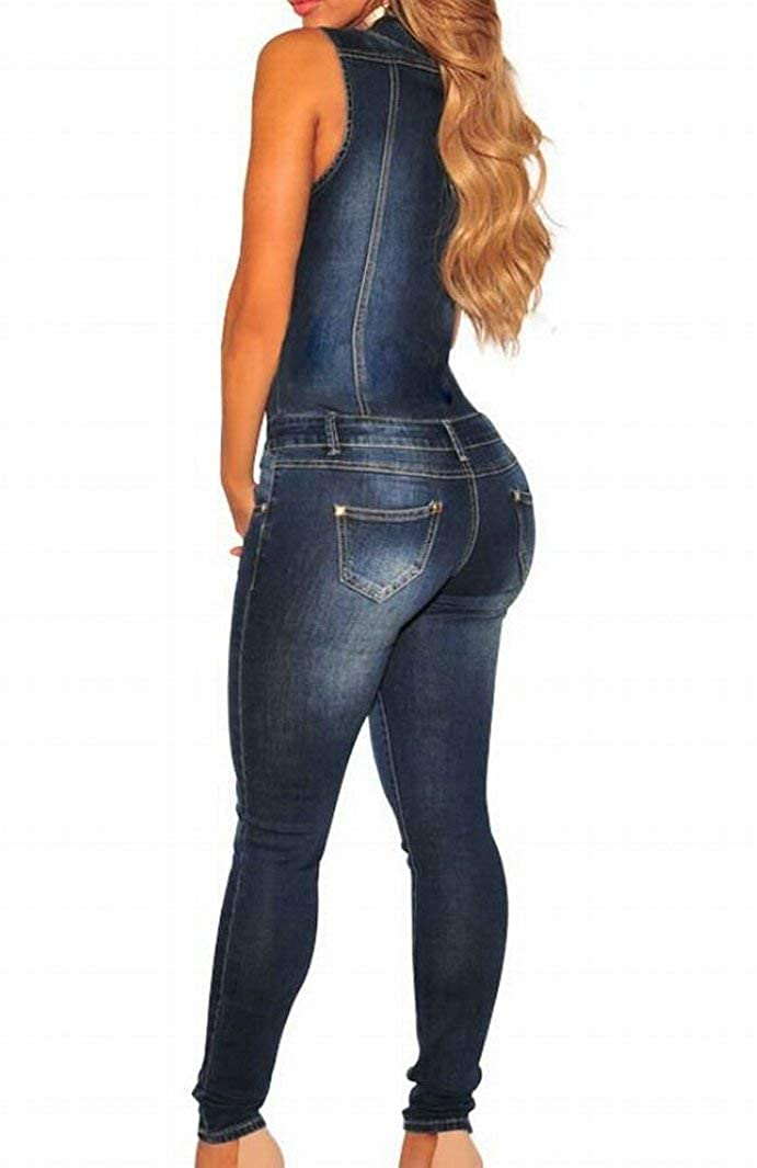 liberalism Slim Fit Sleeveless Button Down Denim Jeans Jumpsuit Rompers Womens