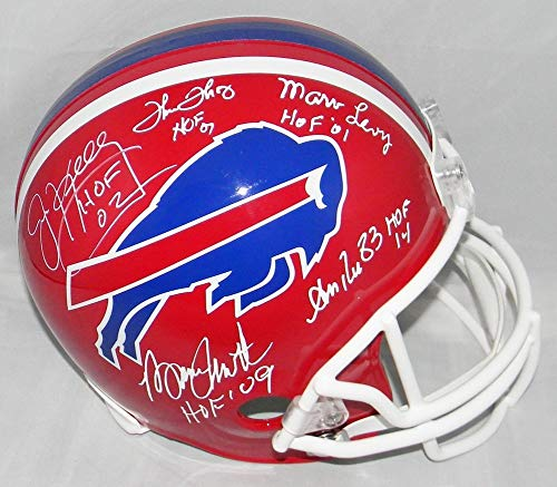 Jim Kelly Bruce Smith Thurman Thomas Andre Reed Levy Autographed Signed Buffalo Bills Helmet Bruce Smith Autographed Buffalo Bills