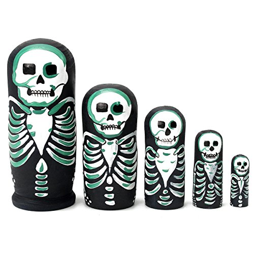 Jeteven5 pc Nesting dolls skeleton