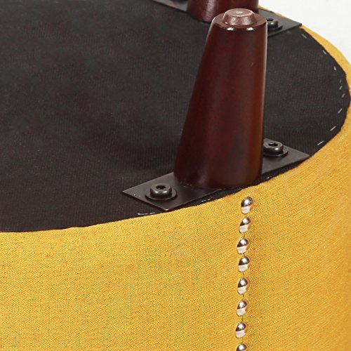 Yellow Nailhead Round Ottoman!! Homebeez Modern Nailhead Trim,Wood Legs,Fabric Storage Ottoman (Yellow) Cylinder