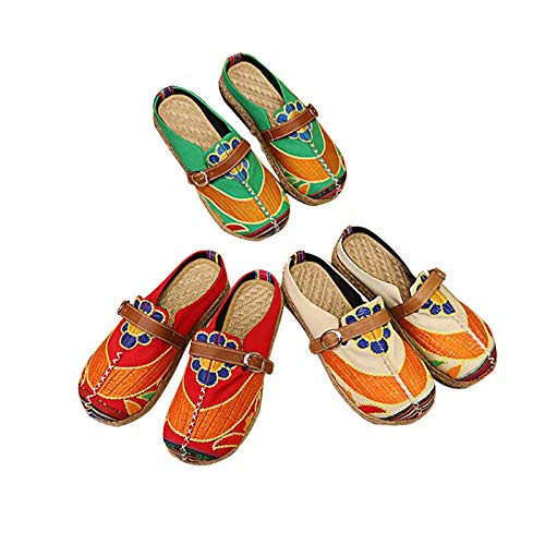 JingZhou Chinese Style Traditional Womens Plus Size 36-40 Loafers Unique Manual Flower Abstract Flat Shoes for Woman XWX6012