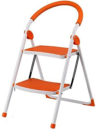 Zheng Hui Shop Taburetes Escalera, Escalera Plegable Escalera de Acero portátil Escalera pequeña casa Escalera de Dos Pisos Escalera de Mano Multiusos (Color : Orange, Size : 47.5 * 57 * 81.5cm): Amazon.es: Hogar