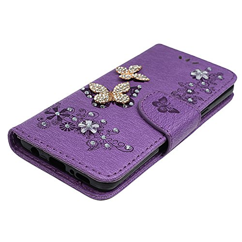 S9 Case, Galaxy S9 Wallet Case, YOKIRIN Luxury 3D Handmade Crystal Rhinestone Case Embossed Double Bling Butterfly PU Leather with Wrist Strap Stand Credit Card ID Holders & Stylus Dust Plug, Purple by YOKIRIN (Image #3)