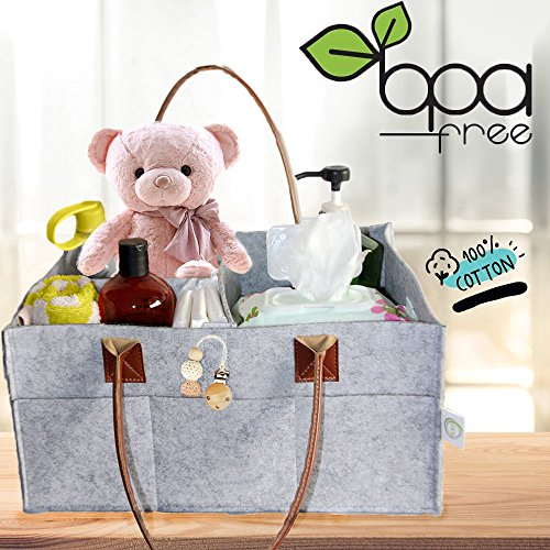 SQOL Baby Diaper Caddy Organizer and Nursery Station | Baby Changing Table Organizer | with Leather Handles Large Tote | for Toys , Wipes , Creams | 2018 Trend Baby Shower Registry Gift Idea