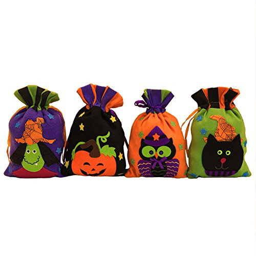 Halloween Drawstring Candy Bags For kids, Trick or Treat, Non Woven Fabrics (4 Packs Pumpkin Witch Owl (Fabric Halloween Treat Bag)