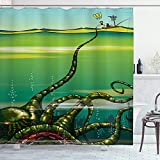 Ambesonne Octopus Shower Curtain, Cartoon Monster Kraken Octopus with Giant Tentacles Underwater with a Sailor Retro Art, Cloth Fabric Bathroom Decor Set with Hooks, 70' Long, Green