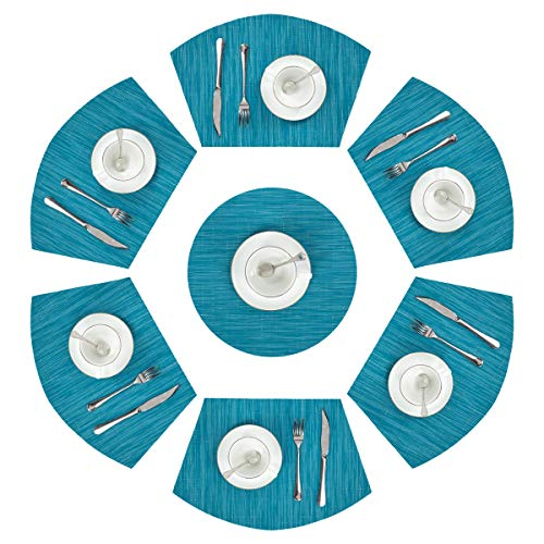 PAUWER Round Table Placemats Set of 6pcs Wedge Placemats and Centerpiece Woven Vinyl Placemats for Kitchen Table Washable(Set of 7, Blue)