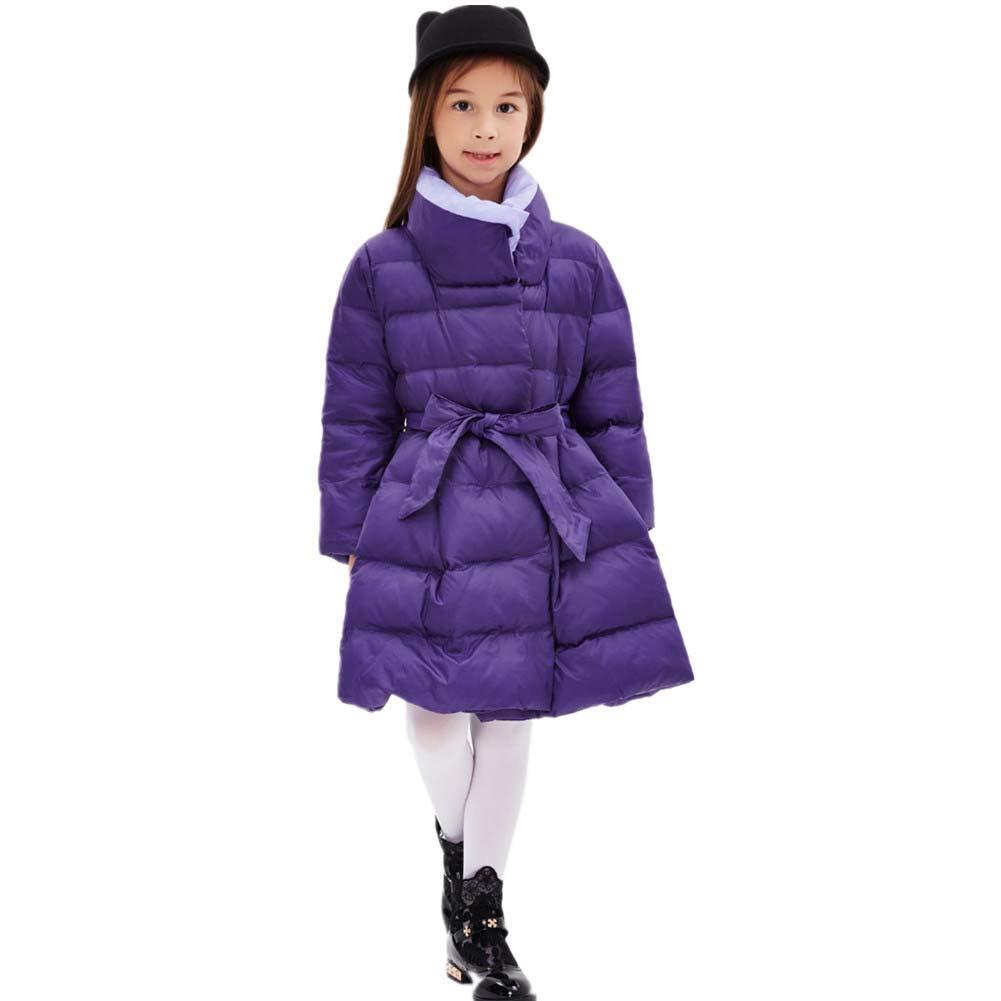violet 150cm YZ-HODC Le Manteau de Couleur Solide de Petites Filles d'hiver badine la Longue Veste vers Le Bas Outwear rembourré, Manteau d'hiver des Enfants idéaux