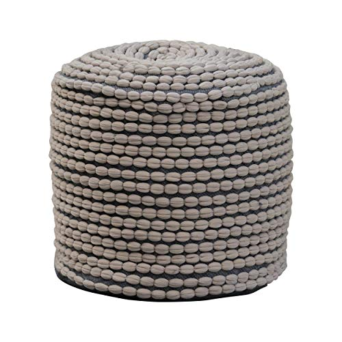 - Collier Outdoor Pouf   Grey Fabric   Round   Footrest for Patio Set