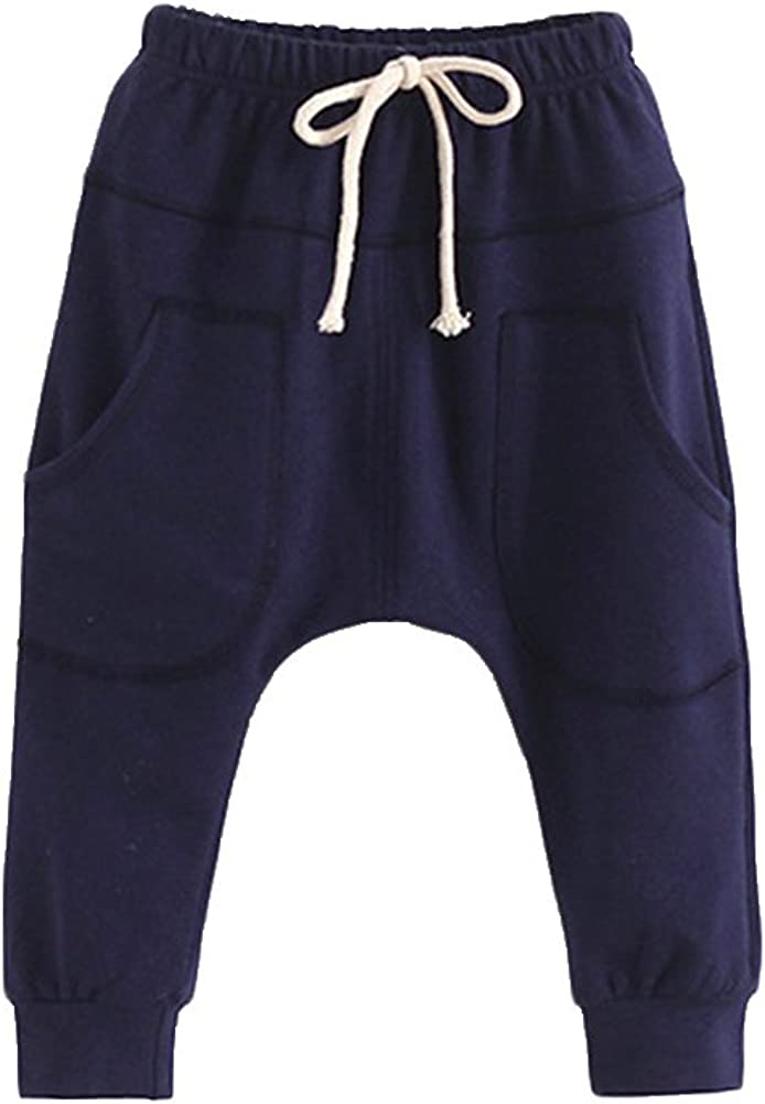 Verypoppa Little Girls Boys Harem Pants Hiphop Elastic Waist Cotton Trousers with Pockets