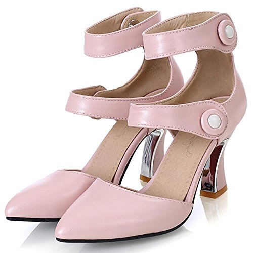 COOLCEPT Damen Mode-Event Klassische Ankle Strap High Heels Sandals Shoes Pink