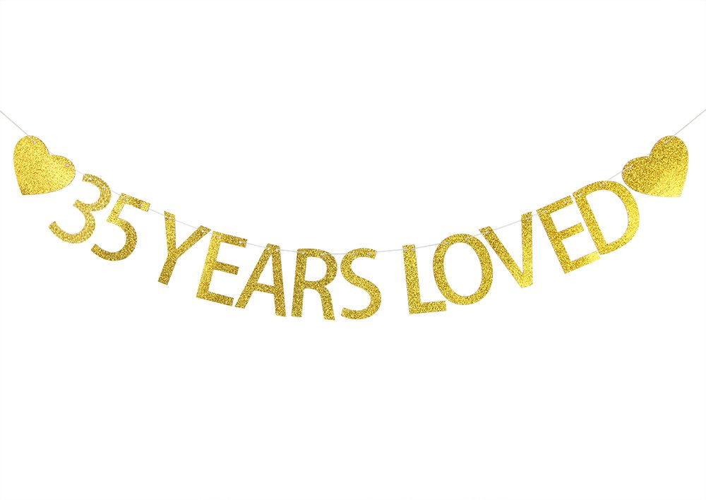 Lovely BITON Gold 35 Years Loved Letters Banner Decoration Kit Themed Party Banner for Birthday Wedding Showers Photo Props Window Decor