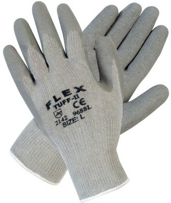 Memphis Glove 9688L Flex Tuff-II Latex Coated Gloves, Large, Gray (Pack of (Flex Tuff Gloves)