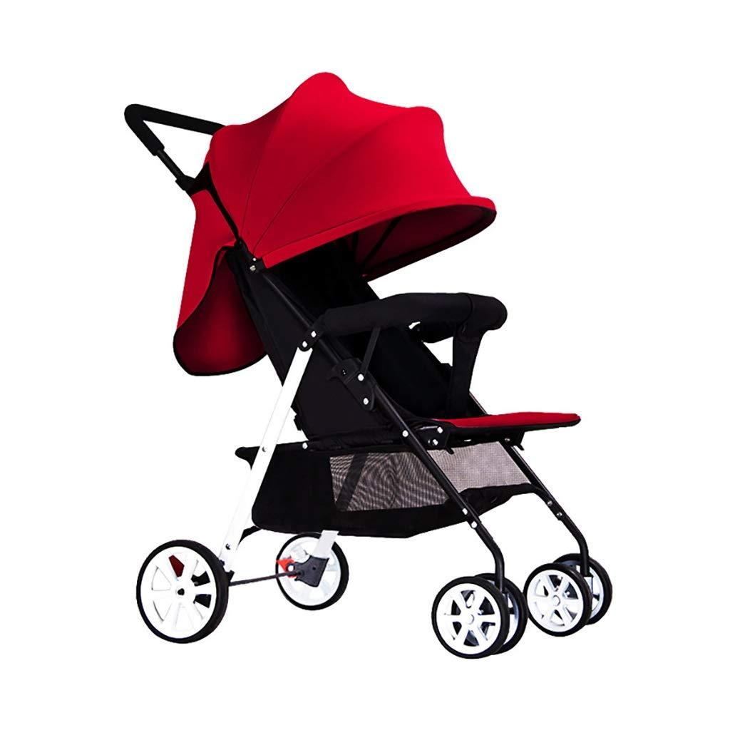 ZUOANCHEN 超軽量の携帯用折りたたみ式衝撃吸収材の赤ん坊の傘、4輪ベビーカーをリクライニングするための4輪ベビーカー (色 : 赤)  赤 B07QJXQTKC