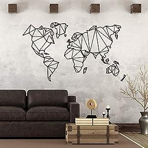 JXNY Art mapamundi geométrico Vinilo Etiqueta de la Pared Sala de Estar decoración Dormitorio Dormitorio Arte Decorativo Mural wallpaper43X74 CM