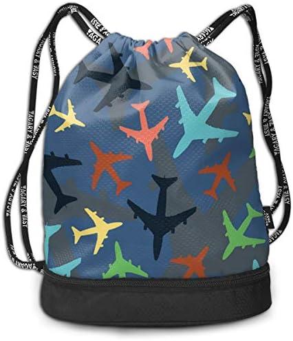 巾着バックパック Bundle Backpack スポーツナップサック 航空機 柄 体操服収納 ジムサック 濡れ物用 内ポケット付 巾着袋 収納バッグ 大容量 乾湿分離 シューズ収納 男女兼用 39*41*17.5cm