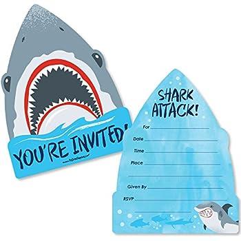 amazon com shark party large invitations 10 invitations 10