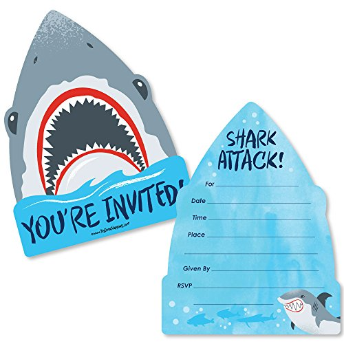 Shark Zone - Shaped Fill-In Invitations - Jawsome Shark Party or Birthday Party Invitation Cards with Envelopes - Set of -