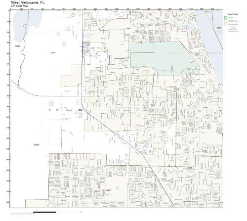 ZIP Code Wall Map of West Melbourne, FL ZIP Code Map - West Melbourne Fl