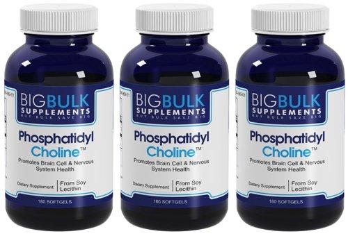 Phosphatidylcholine Favorise cerveau et du système de santé en bloc nerveux Big suplements lécithine de soja 400mg 140mg phosphatidylcholine 540 gélules 3 Bouteilles