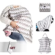 Umiin Nursing Cover Breastfeeding Cover Super Soft Breathable Cotton Sewn in Pouch with Rigid Neckline Opening for Baby Eye Contact (Chevron) Muslin baby Towel Free