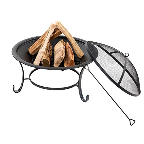 Sun Joe Fire Joe Wood Burning 30-Inch Steel Fire Pit w/ 2...