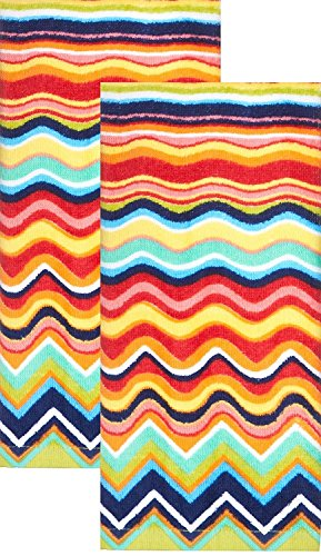 Fiesta Multicolor Zig Zag Terry Kitchen Towel, Set of 2 (Fiesta Ware Pink)