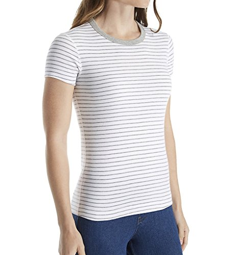 Three Dots Women's Stripe S/s Crewneck, White/Granite, S