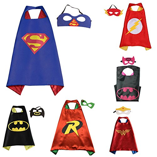 [6 Set Superhero Costumes - Capes and Masks with Gift Box by Superheroes] (Halloween Costumes For The Family)