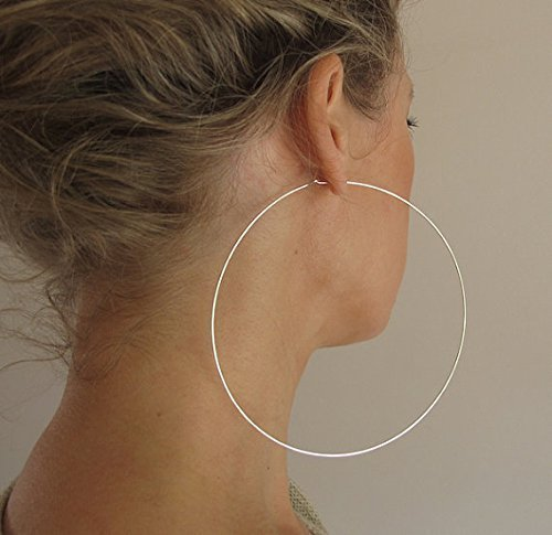ffc5505f4 Amazon.com: Extra Large Sterling Silver Hoop Earrings, 4 inch Hoops - Big  Earrings - Lightweight Hoops - Fashion Jewelry: Handmade