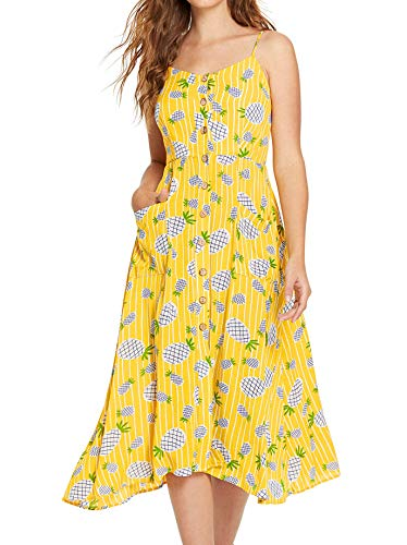 Milumia Women Summer Spaghetti Strap Button Down Floral Print Dress with ()