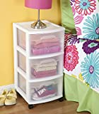 STERILITE 3 Drawer Cart, White Frame with Clear