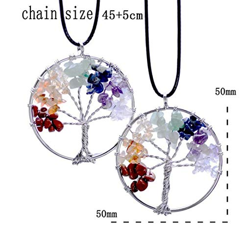(Handmade Tree Of Life Pendant Heart Necklace Women Silver Chain Chakra Natural Stone Jewelry Rainbow Crystal Gift Round)