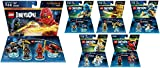 Lego Dimensions Ninjago Complete Bundle (Set of 6) - 71207 Team Pack, & All Ninjago Fun Packs 71216 Nya, 71217 Zane, 71234 Sensei Wu, 71239 Lloyd and Toys R Us Exclusive 71215 Jay