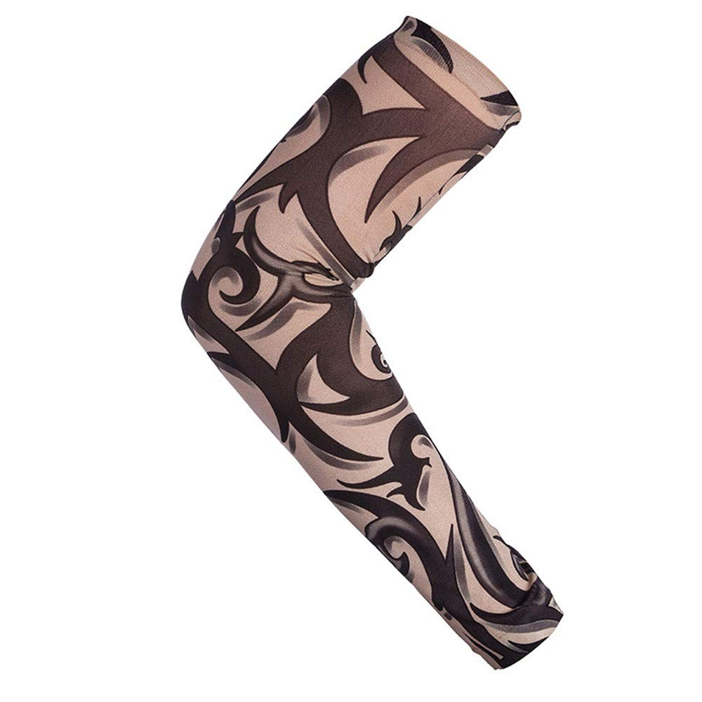 1Pc Nylon Elastic Temporary Tattoo Sleeve Body Arm Stockings UV Protection Tattoo Arm Sleeves for Men Tattoo Sleeves Cover up Full Sleeve - Running, Cycling (C)